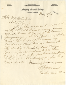 Letter from Meharry Medical College to W. E. B. Du Bois