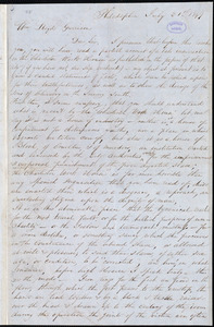 Letter from Placide, Philadelphia, [Pa.], to William Lloyd Garrison, July 21st 1849