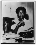 [African American student Elizabeth Eckford studies at home after being turned away from Central High School in Little Rock, Arkansas by National Guardsmen]