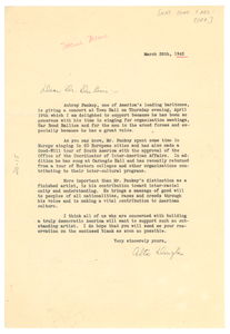 Letter from National Concert and Artists Corporation to W. E. B. Du Bois