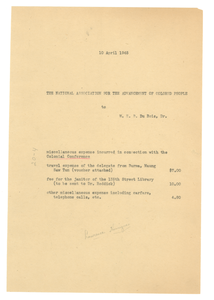 Invoice from W. E. B. Du Bois to NAACP