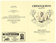 Obsequies for the late Mrs. Josie Horne Gardner, Monday, January 9, 1984, 2:00 p.m., First Unity Missionary Baptist Church, Thomasville, Georgia, Rev. Charlie Ross, pastor