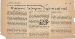 Watchword for Negroes register and vote