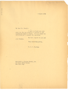 Letter from W. E. B. Du Bois to Abyssinian Baptist Church