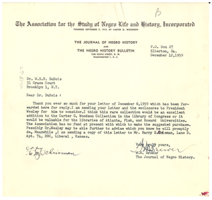 Letter from W. M. Brewer to W. E. B. Du Bois