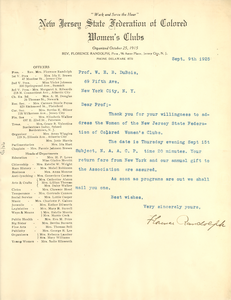 Letter from New Jersey State Federation of Colored Women's Clubs to W. E. B. Du Bois