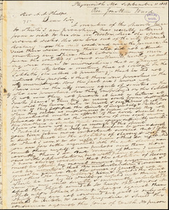 Letter from Jonathan Ward, Plymouth, Massachusetts, to Amos Augustus Phelps, 1838 September 11th