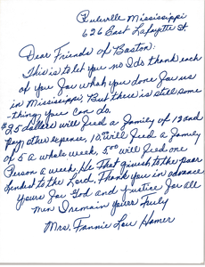 Letter from Fannie Lou Hamer to Civil Rights Workers