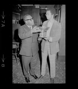 Arthur Ashe and James Smith with World Cup Trophy