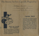 Althea Hurst scrapbook, 1938. Page 72. Provident Travel Service blue itinerary