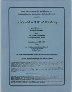 Flyer: Hallelujah: A Bit of Broadway Children's Summer Institute - Hallelujah - A Bit of Broadway