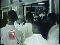 WSB-TV newsfilm clip of an interracial group of civil rights students turned away after attempting to integrate S & W Cafeteria in Atlanta, Georgia, 1963 June 9