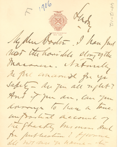 Letter from John E. Milholland to W. E. B. Du Bois