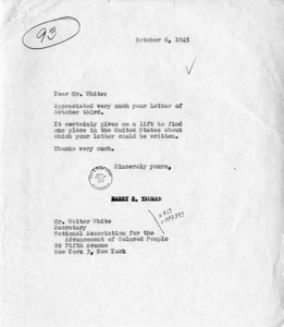 Correspondence Between President Harry S. Truman and Walter White