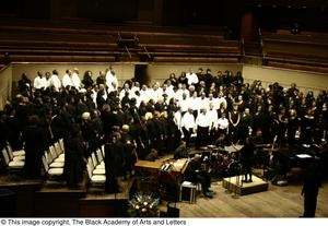 Choir and band on stage Black Music and The Civil Rights Movement Concert, featuring Chrisette Michele & Ledisi.