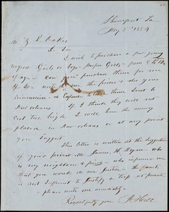 A, Hill, Shreveport, La.., autograph letter signed to Ziba B. Oakes, 5 May 1854