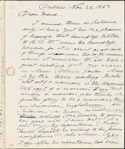 Letter from Henry Clarke Wright, Dublin, [Ireland], to Maria Weston Chapman, 1843 Nov[ember] 28