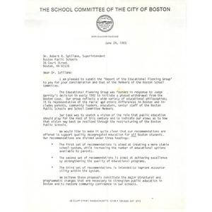 Letter, Dr. Robert R. Spillane, June 24, 1983.