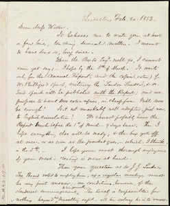 Letter from Samuel May, Leicester, [Mass.], to Miss Weston, Feb. 20, 1853