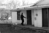 Willie Lee Wood, Sr., standing on the porch of the Autauga County Voters Association office in Prattville, Alabama.
