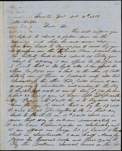 A. J. McElveen, Sumter District, S.C., autograph letter signed to Ziba B. Oakes, 10 October 1853