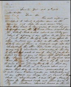A. J. McElveen, Sumter District, S.C., autograph letter signed to Ziba B. Oakes, 10 October 1853