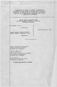 Memorandum of George W. Palmer filed in Dorothy E. Davis, et al. versus County School Board of Prince Edward County, Virginia, Civil Action No. 1333.