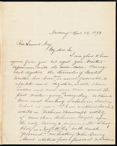 Letter from Milton Metcalf Fisher, Medway, [Mass.], to Samuel May, April 19, 1893