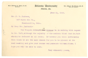 Letter from W. E. B. Du Bois to J. S. Jackson