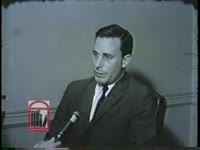 WSB-TV newsfilm clip of Fulton County Young Republican president Mr. Thornwell speaking to a reporter about civil rights legislation, about mayor Ivan Allen, and about senator Barry Goldwater in Atlanta, Georgia, 1963 October