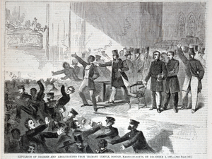 Expulsion of Negroes and Abolitionists from Tremont Temple, Boston, Massachusetts, on December 3, 1860, from Harper's Weekly, December 15,1860