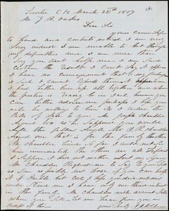 A. J. McElveen, Sumter Court House, S.C., autograph letter signed to Ziba B. Oakes, 22 March 1857