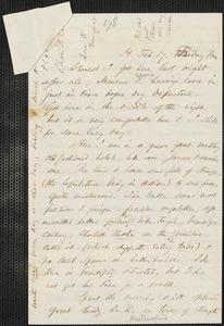 Thomas Wentworth Higginson autograph letter to [Mrs. Mary Elizabeth Channing Higginson, Harrisburg, PA], 17 February [1860]