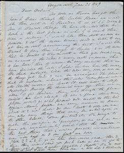 Incomplete letter from Anne Warren Weston, Weymouth, [Mass.], to Deborah Weston, Jan. 28, 1849