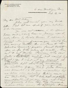 Baldwin, James Mark, 1861-1934 autograph letter signed to Hugo Münsterberg, Paris, 16 February 1910