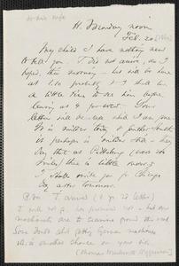 Thomas Wentworth Higginson autograph letter to [Mrs. Mary Elizabeth Channing Higginson, Harrisburg, PA], 20 February [1860]