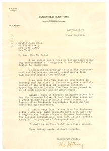 Letter from W. C. Matney to W. E. B. Du Bois