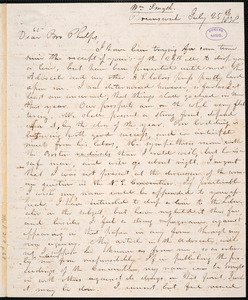 Letter from William Smyth, Brunswick, to Amos Augustus Phelps, July 25th 1838