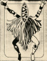 Costume design drawing, black and white witch doctor, Las Vegas, June 5, 1980