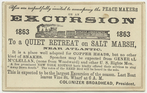 You are respectfully invited to accompany the Peace Makers on an excursion : to a quiet retreat on a salt marsh : near the Atlantic, 1863