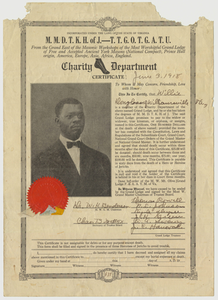 Charity department death benefits certificate issued to Willie Douglass, 1918 June 3