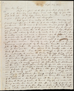 Letter from William Lloyd Garrison, Boston, [Mass.], to George William Benson, Sept. 23, 1837