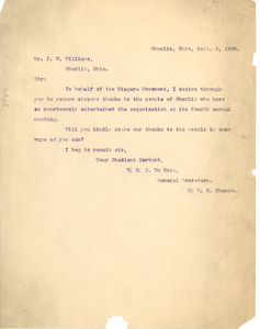 Letter from Niagara Movement to J. W. Williams