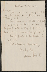 Thumbnail for James Redpath autograph letter signed to [Thomas Wentworth Higginson], Malden, 8 November [1859]