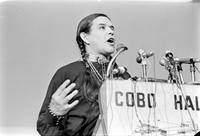 Bellecourt, Clyde; Indian Activist. Appearing in Detroit at Cobo Hall Rally (with Angela Davis). 4x5