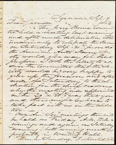 Letter from Samuel Joseph May, Syracuse, [N.Y.], to William Lloyd Garrison, Sep[tember] 9 1854