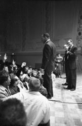 Martin Luther King at edge of stage, Hill Auditorium, November 5, 1962 (frame 4)