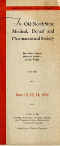 Program of the ... annual session of The Old North State Medical, Dental and Pharmaceutical Society [serial], 47th(1934)