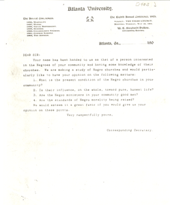 Copy of Circular Letter from Conference for the Study of the Negro Problems to Community Church leaders