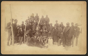 [Buffalo soldiers of the 25th Infantry, some wearing buffalo robes, Ft. Keogh, Montana]